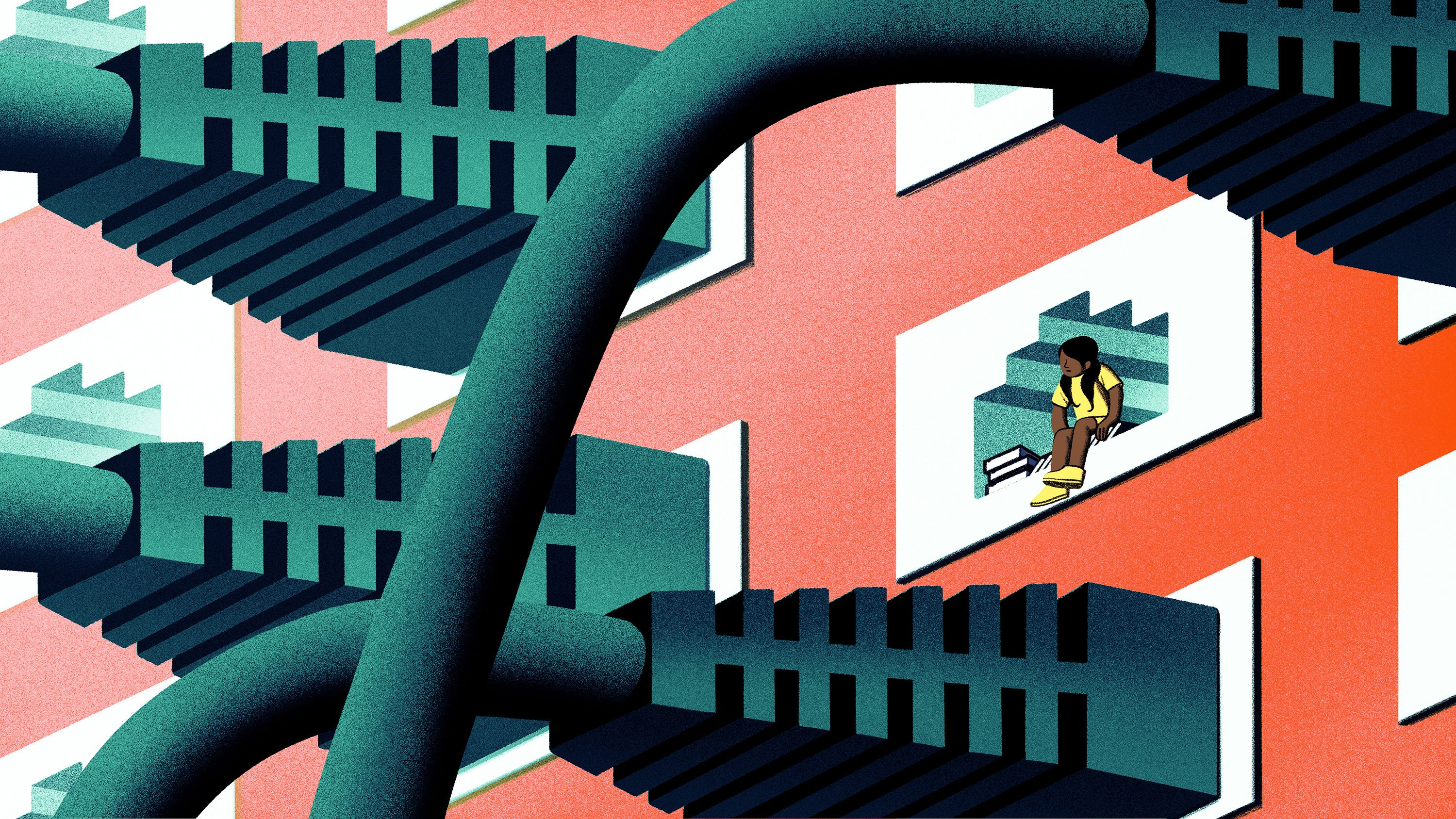Conceptual illustration of a student sitting in a window that shows large ethernet cords plugged in around her