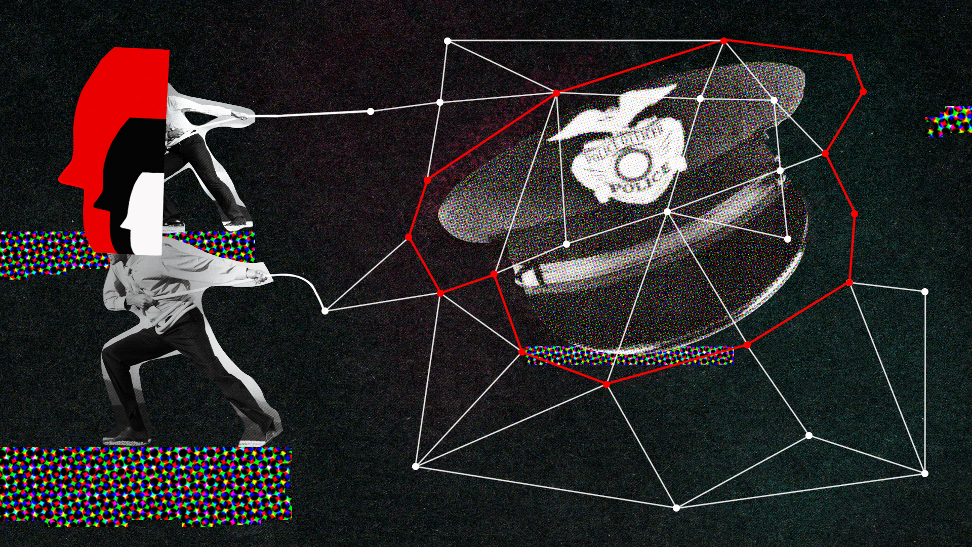 conceptual illustration showing a police hat with overlapped nueral network that's being dismantled.
