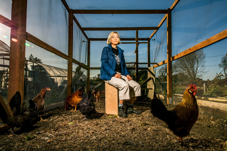 Xiaowei Wang at Urban Tilth Farm