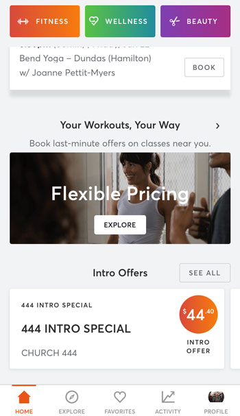 screenshot of the MindBody app and it's intro offers and Flexible Pricing
